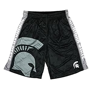 KLEW NCAA Michigan State Spartans Bigロゴポリエステルショーツ、XXL、緑