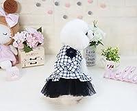 ZEEY 犬の女の子 弓結び目 ペットコスチュームチェック柄スカートパーティー ビーチ用スカート ふわふわスカート (L, ブラック)