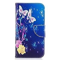 OMATENTI Galaxy J7 2017 ケース カード収納 おしゃれ 高級感 手帳型ケース 衝撃吸収 落下防止 防塵 人気 花柄カバー, マグネット開閉式 プロテクター Galaxy J7 2017 対応, 青い蝶-1