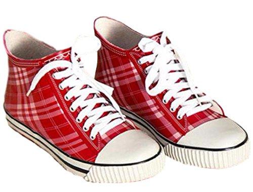 【SCGEHA】レインブーツ ショート 長靴 レディース キッズ 女の子 防水 チェック スニーカー 風 おしゃれ かわいい 3カラー 23.5cm 24.5cm 25.5cm 3サイズ (レッド/25.5cm)