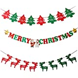 Merry Christmas Banner Chrismas Party Decorations Clearance Xmas Tree Deer Pennant Banners [並行輸入品]
