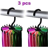 3 Pack OPCC 360 Degree Rotating Twirl Tie Rack Adjustable Tie Belt Scarf Hanger Holder Hook Ties Scarf for Closet Organiser Storage (12cm)