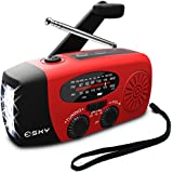 Esky [Upgraded Version] Portable Emergency Weather Radio Hand Crank Self Powered AM/FM/NOAA Solar Radios with 3 LED Flashlight 1000mAh Power Bank Phone Charger (Red)