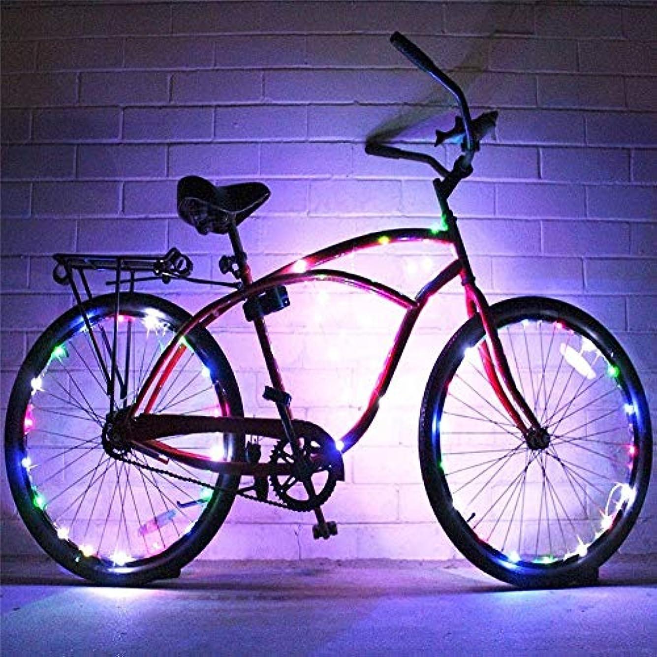 申請中望む低下充電式自転車ライト 2セットの自転車ホイールライト文字列超明るいLED各種色自転車タイヤアクセサリー自転車リムライト自転車スポークライト超高輝度LED防水ホイールライトバイクライト (色 : マルチカラー, サイズ : 2 pcs)