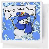 Edmond Hogge Jrクリスマス–Happy New Year Snowman withスノーフレーク背景–グリーティングカード Set of 12 Greeting Cards