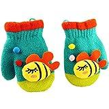 (FTzone)かわいいユニセックスキッズスーパー暖かいウールニット手袋・ミトン1歳2歳3歳4歳5歳 (魚) (青)