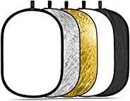 Neewer 5-in-1 Oval 80X120cm/31 x47 Professional Collapsible Multi-Disc Light Reflector with Translucent, Silve