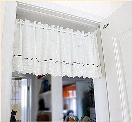 WPKIRA カフェカーテン遮光北欧刺繍入り花柄 カーテン 目隠し小窓用 カフェカーテンレース 1枚 幅150cmx丈70cm