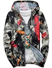 Sodossny-JP 男性の薄い軽量ジャケットパーカープリントロングスリーブジャケット 1 S
