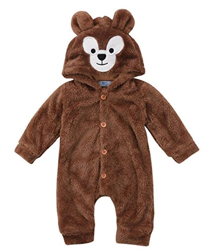 過ちスキニーパラダイスベビー ロンパース  子供服 着ぬいぐるみ もこもこ カバーオール かわいい クマさん 連体服 保温 冷房 寒さ対策 キッズ コスチューム 防寒着 男の子 女の子 出産祝い 柔らかい ソフト (100)