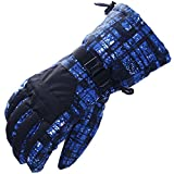 adelphos 手の甲便利なカード入れ付き スキー スノーボード スノボー メンズ 手袋 グローブ 防水 撥水 防風 防寒 インナーフリース 二点ホールド 登山 バイク 自転車 通勤にも (ブラックブルー)