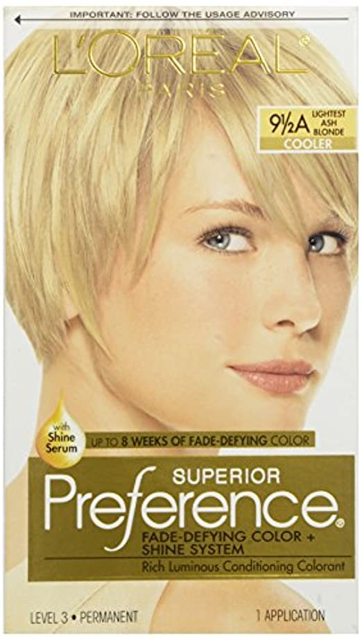 L'OREAL SUPERIOR PREFERENCE HAIR COLORANT #9 1/2A LIGHTEST ASH BLONDE COOLER
