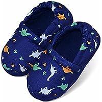 LA PLAGE Boys/Little Kid Winter Warm Indoor Slip-on Slippers with Hard Anti-Slipping Sole