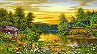 Wowdecor 数字油絵 数字キット40×50cm - サンセットマウンテンフォレストリバールースター風景 - DIY ぬりえ 塗り絵 絵画 趣味 インテリア (内部木製フレーム)