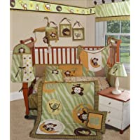 SISI Baby Bedding - Jungle Monkey Green 15 PCS Crib Bedding by Sisi