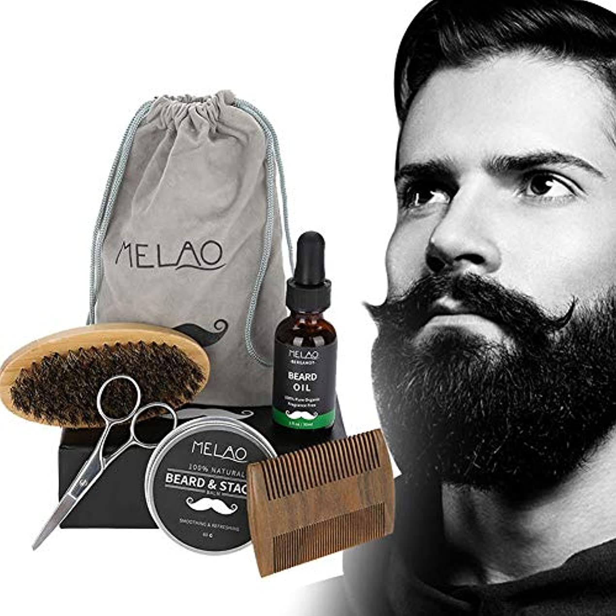 三角形アルプス簡略化するビアードケアセット、髭ケア必需品 メンズひげクリーム シェービングトリートメント 保湿/滋養/ 携帯便利 最高の贈り物