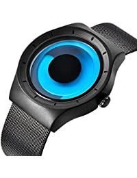 腕時計、メンズ腕時計、デザイナーズ カジュアルなビジネスファッションステンレスメッシュ防水時計 (青)