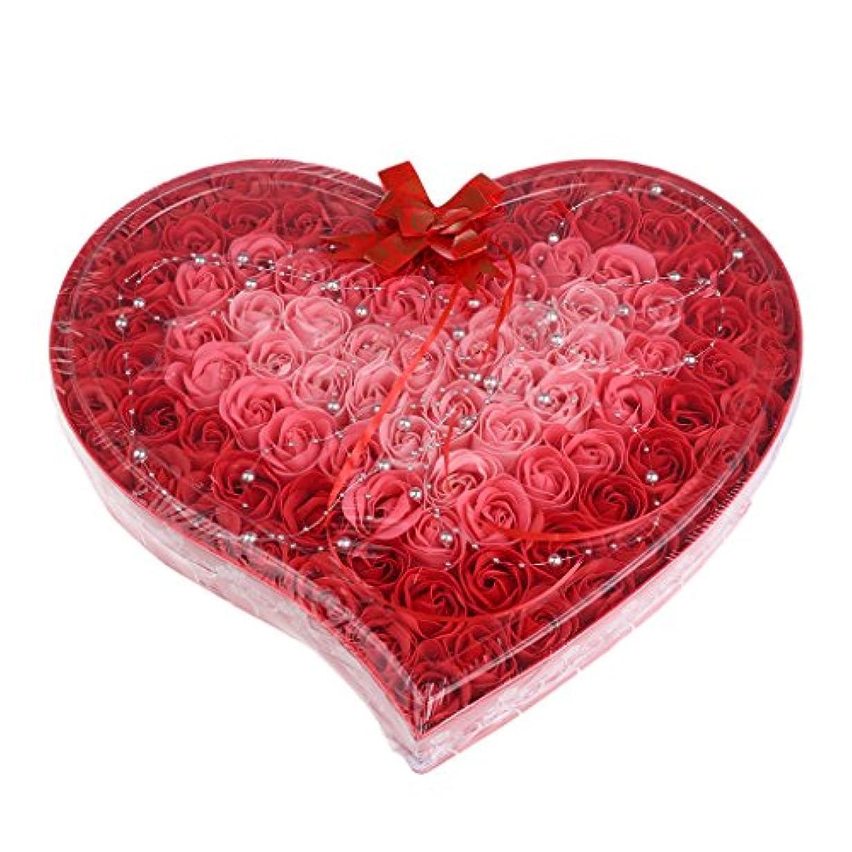 形状ファセット信頼Kesoto 石鹸の花 造花 ソープフラワー 心の形 ギフトボックス  母の日   バレンタイン プレゼント 全4色選べる - 赤