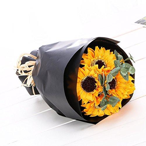 KIZAWA 花束 ヒマワリ 6本 ソープ フラワー 枯れない花 メッセージカード ギフトクリアバック付き