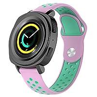 Galaxy Watch Active ベルト Vikisda Samsung Galaxy Watch Active 交換ベルト バンド 高級シリコーン製 柔らか ソフト カラフル 超薄 超軽量 接続工具付く 簡単装着 ピンク+グリーン