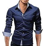 【 Smaids×Smile 】 ボタン スリム メンズ 長袖 チェック フィット ワイシャツ カジュアル ドレス (M, ネイビー)