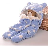 corolerベビーラップおくるみブランケットCozy Sleeping Bag with波パターンExtra Thick for秋、冬、春0 – 12月Baby One Size ブルー