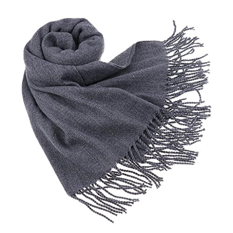 製造業耐えられない責めるSONONIA 女性 冬 カシミアブレンド パシュミナ ソリッド タッセル ショール ラップ スカーフ 防寒 防風 全4色 - グレー
