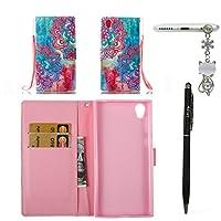 Sony L1 ケース Alfort 筆と彩絵のケース Sony L1 PUカバー 手帳型 良質レザー 耐衝撃 全面保護 スタンド機能 財布型