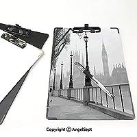 カスタム クリップボード クリップファイル ロンドン 事務用品の文房具 (2個)雨のイメージグレーブラックホワイトの下でランタンとテムズ川でウォーキングウェイからビッグベン