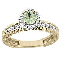 14Kイエローゴールド天然グリーンアメジストラウンド5mm婚約指輪ダイヤモンドアクセント、サイズ5–10