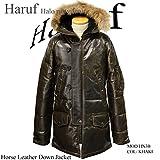 (ハルフレザー)Haruf Leather hn3bpkk メンズ レザーダウンジャケット ダウンコート ホースレザー カーキ 本革