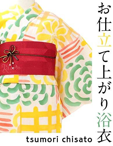 (キステ)Kisste浴衣単品《tsumorichisato》お仕立て上がり浴衣<ベージュ/花と猫>綿100%日本製5-7-01066