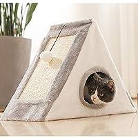 Gifty猫 つめとぎ 三角形 ハウス型 猫タワー 折りたたみ式 スクラッチボード 麻 室内飼い しつけ ボールのおもちゃ付き