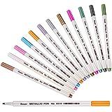 カラーペン マーカーペン 12色セット メタリック 手帳ページ アルバムDIY 塗り絵 水性 サインペン