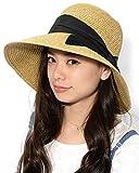 ブラック F (ディーループ)D-LOOP UV カット カプリーヌハット リボン 付き 折り畳み 可能 女優帽 レディース つば広 日よけ 折りたたみ ハット 無地 かわいい 紫外線 対策 日除け つばひろ 麦わら 帽子 ぼうし つば広帽子 つば広め 122592-010-001