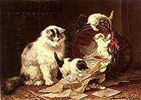 ¥5K-200k 手書き-キャンバスの油絵 - 美術大学の先生直筆 - De Snippermand 動物 猫 Henriette Ronner Knip 絵画 洋画 複製画 ウォールアートデコレーション -サイズ08