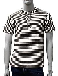 (ギ・ローバー)GUY ROVERパイルボーダー ヘンリーネックTシャツ【ベージュ×ホワイト】TC441J 571515 03『サイズ:XL』 [並行輸入品]