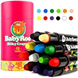(12 Colors) - Joan Miro Non-Toxic Washable Silky Crayons Rotating Markers Sticks Pastel and Watercolour Effects (12 Colours)