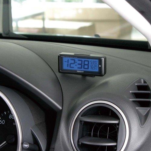ナポレックス 車用電波時計 ブラック 配線不要 青色LEDバックライト 大型液晶 アラーム機能付き 汎用 Fizz-940