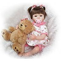 NPK collection Rebornベビー人形Realistic Baby dollsvinylシリコン赤ちゃん18インチ45 cmおしゃぶり人形ピンクドレスand a Bear