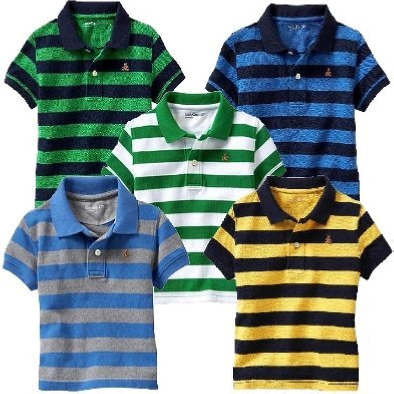 baby gap ストライプ ポロシャツ 半袖 (緑色?青色?白色?水色?黄色)【1歳~5歳】(並行輸入品) (3YRS(3歳), 青×紺)