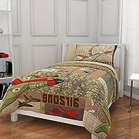 7 Piece BoysブラウングリーンAirzone Comforter Fullセットレッド、オレンジ色飛行機航空機パッチワークリバーシブル迷彩デザイン、キッズ幼児用ベッドの寝室、Adventures Cozyティーンテーマ、ポリエステル