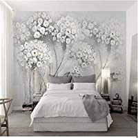 Wuyyii 現代のライトグレーの木壁画壁紙用壁3Dレトロ花カスタム写真壁紙家の装飾リビングルーム寝室壁画-250X175Cm