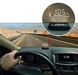 Safego スマート4インチ 車載 HUD ヘッド アップ ディスプレイ 車速 エンジン回転数 スピードメーター 過速度警報 疲労運転警報 OBD2対応 など ガラスに投影 / な反射板に投影