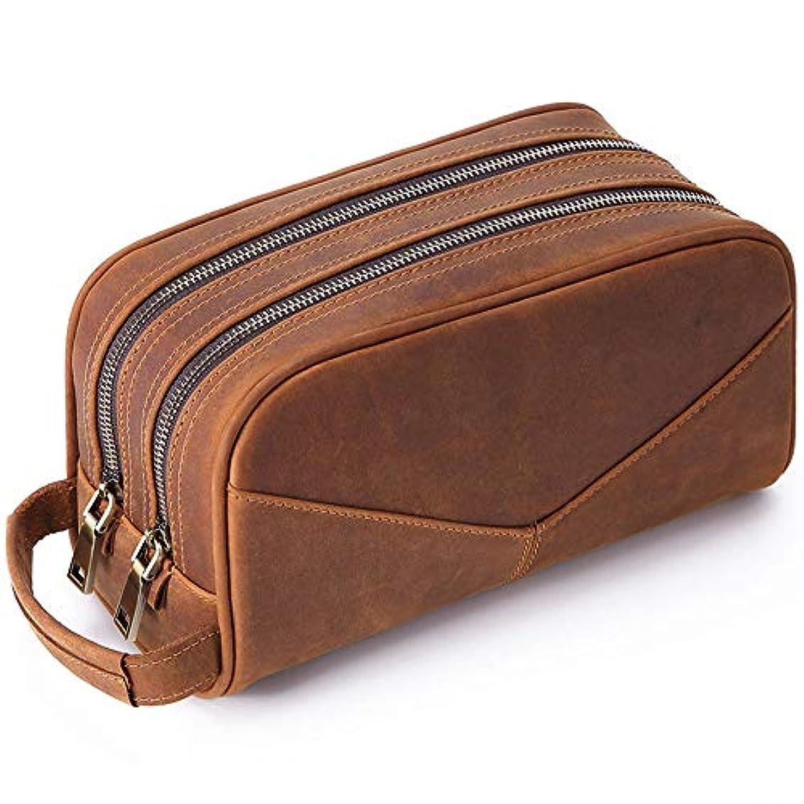 日常的に残基画像男性女性のための多機能化粧ウォッシュバッグカジュアルレザー二層化粧品バッグ-brown