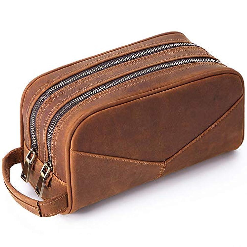 ポップマーカー休戦男性女性のための多機能化粧ウォッシュバッグカジュアルレザー二層化粧品バッグ-brown