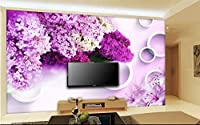 Bzbhart 3D大壁画、モダンでシンプルな紫色のラベンダーの壁紙、リビングルームのソファテレビの壁の寝室の壁紙-120cmx100cm