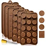 Leaf and Funny Emojis Silicone Candy and Chocolate Bar Molds: Molds for Cupcake, Brownie Topper, Soft & Hard Candies, Keto Fat Bombs, Jello, Ice Cubes Tray, Best for Party Gifts, 6 Pack