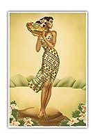 トロピカル収穫 - フルーツのバスケットを保持しているハワイの女 - によって作成された ギル c.1940s - アートポスター - 23cm x 31cm