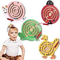 (C) - Dirance Magic Animal Magnetic Maze Board Games Wooden Labyrinth Intellectual Toys for Kids (C)